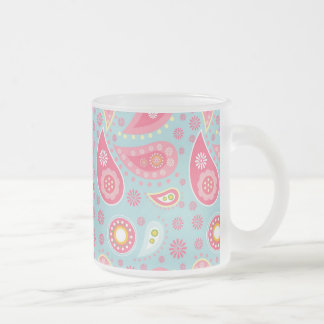 Bright Blue and Pretty Pink Paisley Pattern Frosted Glass Coffee Mug
