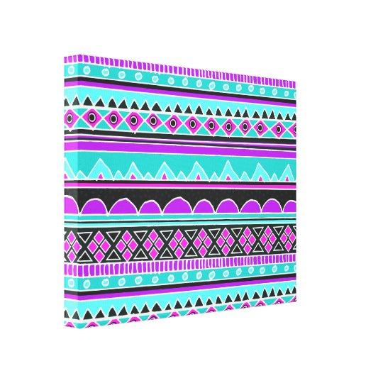Bright Blue and purple tribal pattern Canvas Print