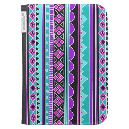 Bright Blue and purple tribal pattern Kindle Folio Case