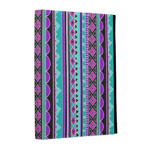 Bright Blue and purple tribal pattern iPad Folio Cover
