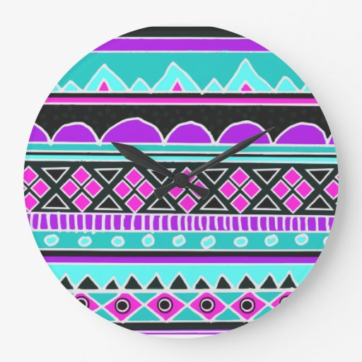 Bright Blue and purple tribal pattern Round Wall Clock