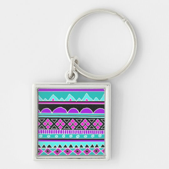 Bright Blue and purple tribal pattern Keychain