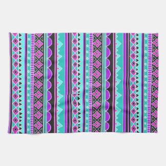 Bright Blue and purple tribal pattern Kitchen Towels