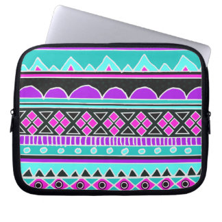 Bright Blue and purple tribal pattern Laptop Sleeves