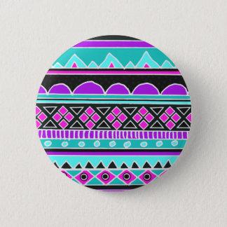 Bright Blue and purple tribal pattern Pinback Button