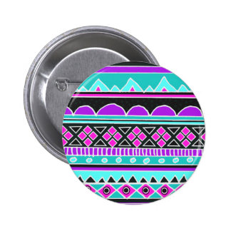 Bright Blue and purple tribal pattern Pinback Button