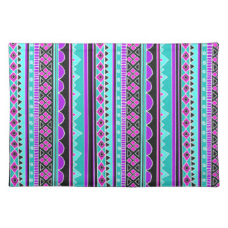 Bright Blue and purple tribal pattern Placemats