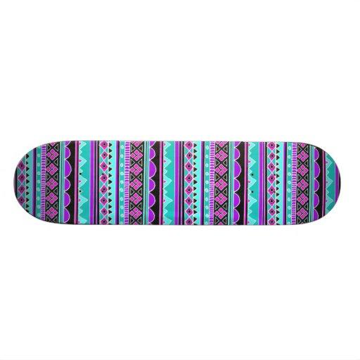 Bright Blue and purple tribal pattern Skateboard Deck