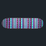 "Bright Blue and purple tribal pattern Skateboard Deck<br><div class=""desc"">mexican,  aztec,  native,  &quot;native american&quot;,  african,  africa,  ethnic,  ethnicity,  culture,  cultural,  lined,  lines,  stripes,  striped,  repeating,  pattern,  patterned,  patterns,  weave,  woven, tapestry,  rug,  peru,  peruvian,  &quot;south western&quot;,  &quot;south american&quot;,  &quot;south america&quot;,  southwestern,  print,  printed,  sweater,  geometric,  shapes,  bright,  blue,  purple,  neon,  black,  &quot;electric blue&quot;, </div>"