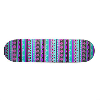 Bright Blue and purple tribal pattern Skateboard Deck