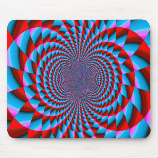 Bright Blue and Red Fractal Swirls Digital Art Mouse Pad