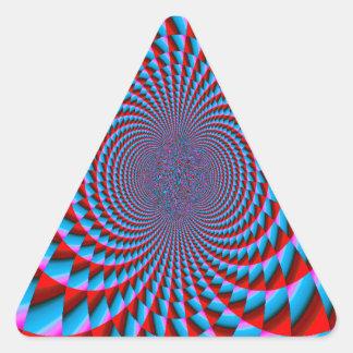 Bright Blue and Red Fractal Swirls Digital Art Triangle Sticker