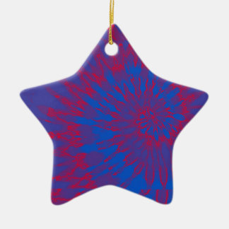Bright Blue and Red Spiral Tie Dye Ceramic Ornament