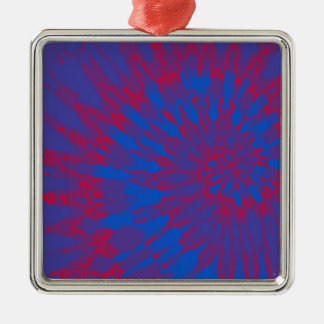 Bright Blue and Red Spiral Tie Dye Metal Ornament
