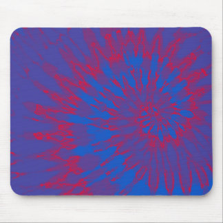 Bright Blue and Red Spiral Tie Dye Mouse Pad
