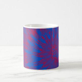 Bright Blue and Red Spiral Tie Dye Mug