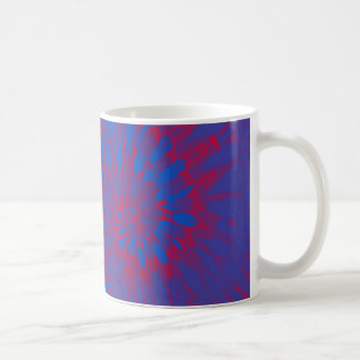 Bright Blue and Red Spiral Tie Dye Mugs
