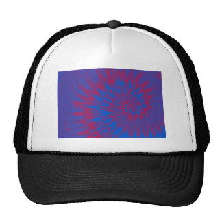 Bright Blue and Red Spiral Tie Dye Trucker Hats