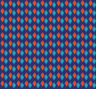 e68f5a837bf472 Bright Blue and Reddish Orange Diamond Patterned Leggings