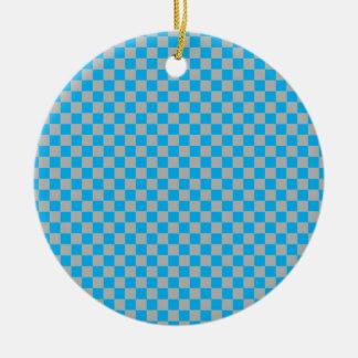Bright Blue and Silver Dust Grey Checkerboard Ceramic Ornament
