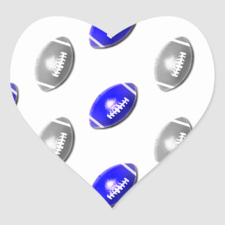 Bright Blue and Silver Football Pattern Heart Sticker