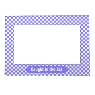 Bright Blue and White Checkered Custom Photo Magnetic Picture Frame