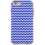 Bright Blue and White Chevron Tough iPhone 6 Plus Case