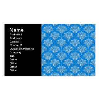 Bright Blue and White Floral Damask Business Cards