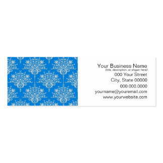 Bright Blue and White Floral Damask Business Card Template