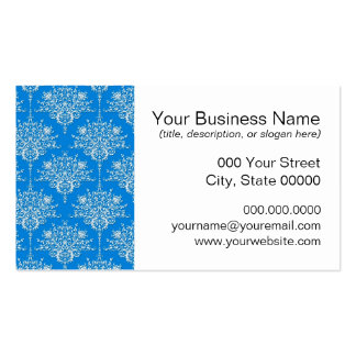 Bright Blue and White Floral Damask Business Card Templates