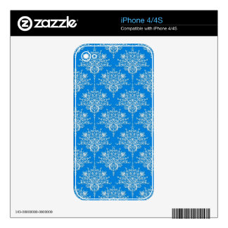 Bright Blue and White Floral Damask Skins For The iPhone 4