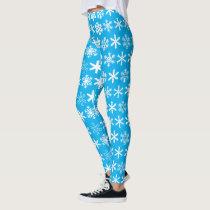 Bright Blue and White Snowflake Leggings
