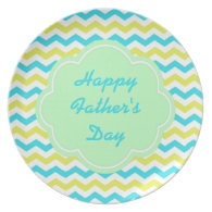 Bright blue and yellow chevron happy father's day plate