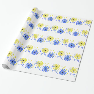 Bright, blue and yellow flowers, gift wrap. wrapping paper