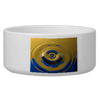 Bright Blue and Yellow Water Drop Pet Bowl