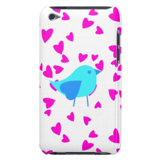 Bright Blue birds with pink hearts Barely There iPod Case
