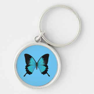 Bright Blue & Black Butterfly Original Colors Keychain