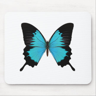 Bright Blue & Black Butterfly Original Colors Mouse Pad