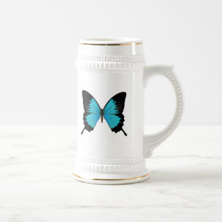 Bright Blue & Black Butterfly Original Colors 18 Oz Beer Stein