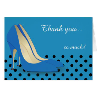 Bright Blue, Black Polka Dots and Red Pumps Stationery Note Card