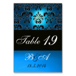 BRIGHT BLUE BLACK WHITE CLASSY DAMASK MONOGRAM TABLE CARD