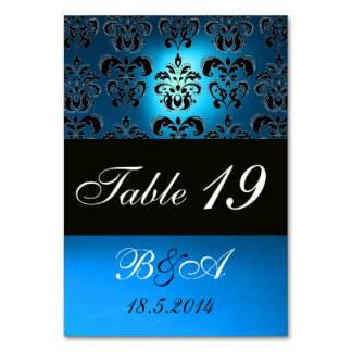 BRIGHT BLUE BLACK WHITE CLASSY DAMASK MONOGRAM TABLE CARD