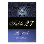 BRIGHT BLUE BLACK WHITE CLASSY DAMASK MONOGRAM TABLE CARDS