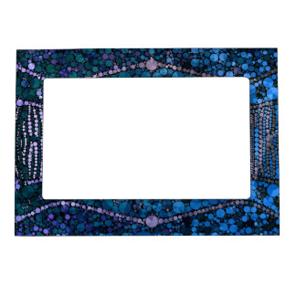 Bright Blue Bling Abstract Pattern Magnetic Frame