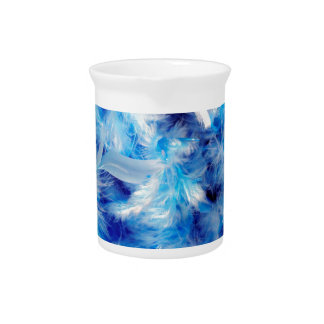 Bright Blue Boa Feather Pattern Pitcher