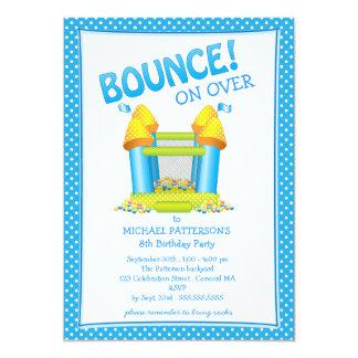 Bright Blue Bouncy House Birthday Party Invitation