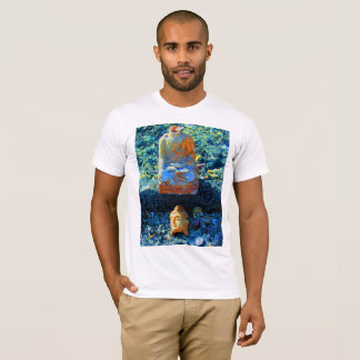 Bright Blue Buddha Graphic T Shirt