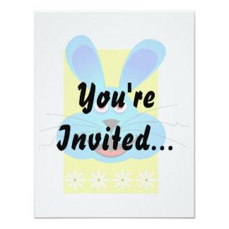bright blue bunny head yellow back card