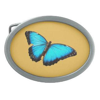 Bright blue butterfly belt buckle