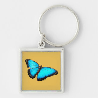 Bright blue butterfly Silver-Colored square keychain